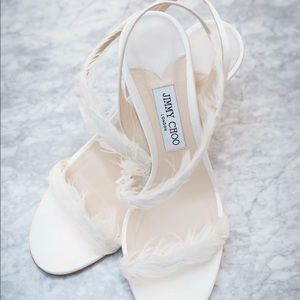 Jimmy choo feather bridal shoes size 42
